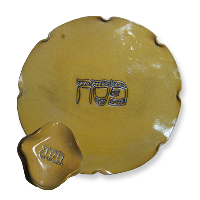 Brown Ceramic Seder Plate