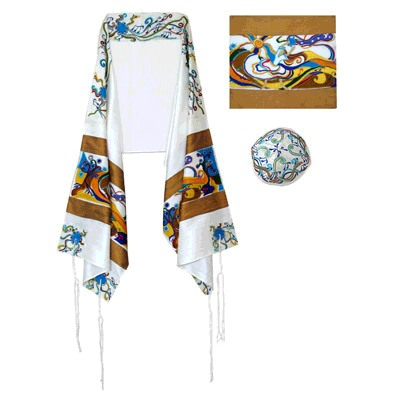 3 pc Cotton Tallit Set, Rachel Abstract